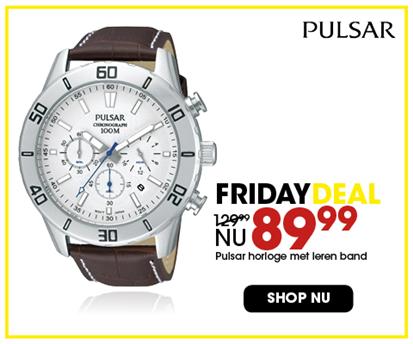 Black Friday aanbieding - Leren Pulsar horloge 89,99 2