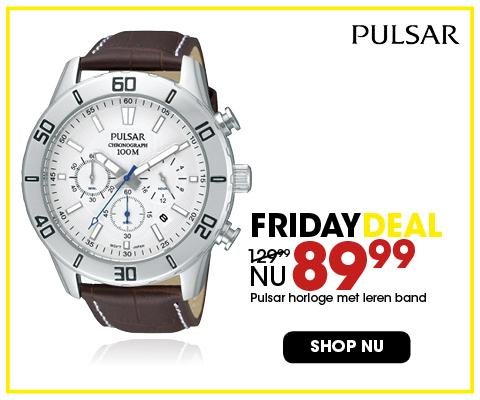 Black Friday aanbieding - Leren Pulsar horloge 89,99 4