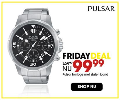 Black Friday aanbieding - Stalen Pulsar horloge 99,99 2