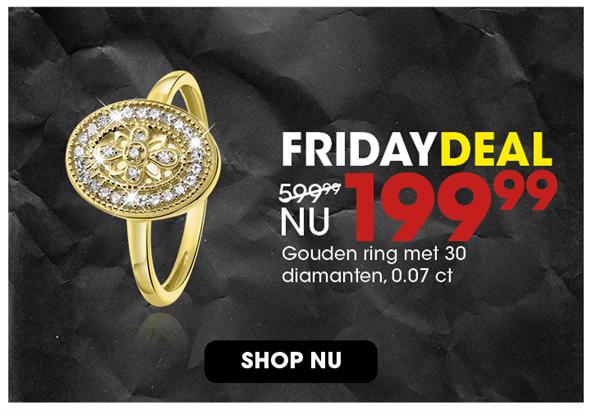 Black Friday aanbieding - Diamanten ring 199,99 2