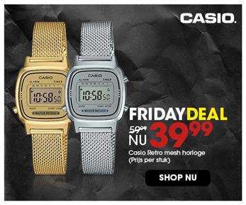 Black Friday aanbieding - Casio retro mesh 39,99 3