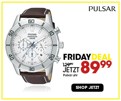 Black Friday aanbieding - Pulsar Chronograph-Herrenuhr mit Leder 2