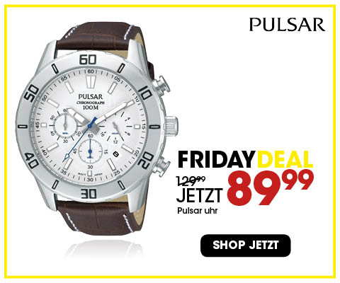 Black Friday aanbieding - Pulsar Chronograph-Herrenuhr mit Leder 4