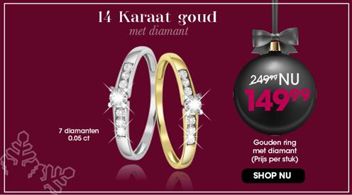 14 karaat gouden ring met diamant 3