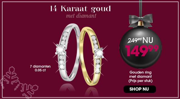 14 karaat gouden ring met diamant 2